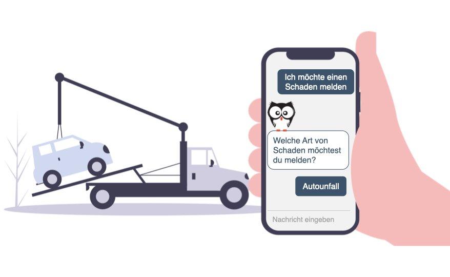 Chatbots für Versicherungen, Kauz Chatbots, Autounfall, Abschleppwagen, Versicherung