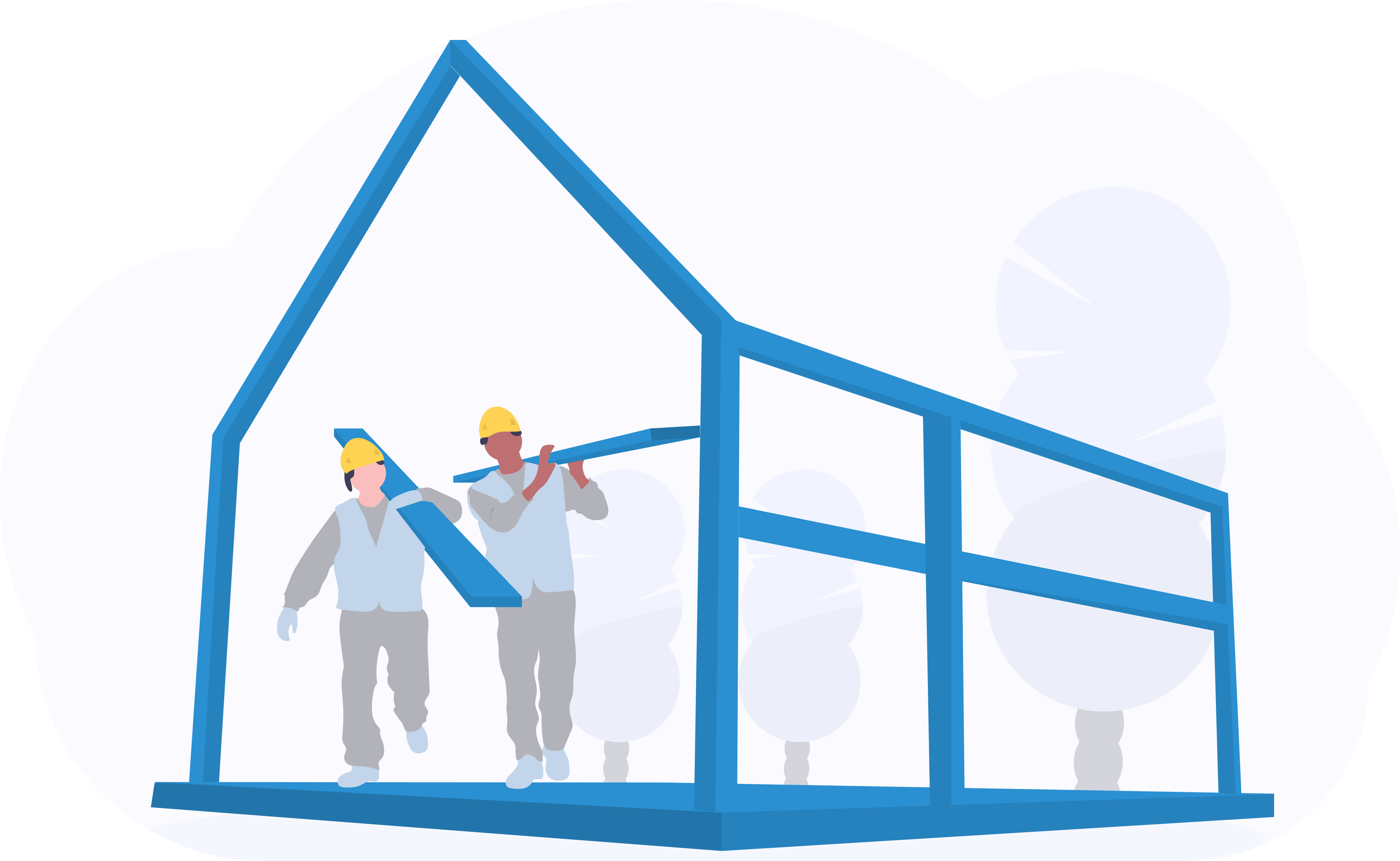 Bauarbeiter unfertiges Haus