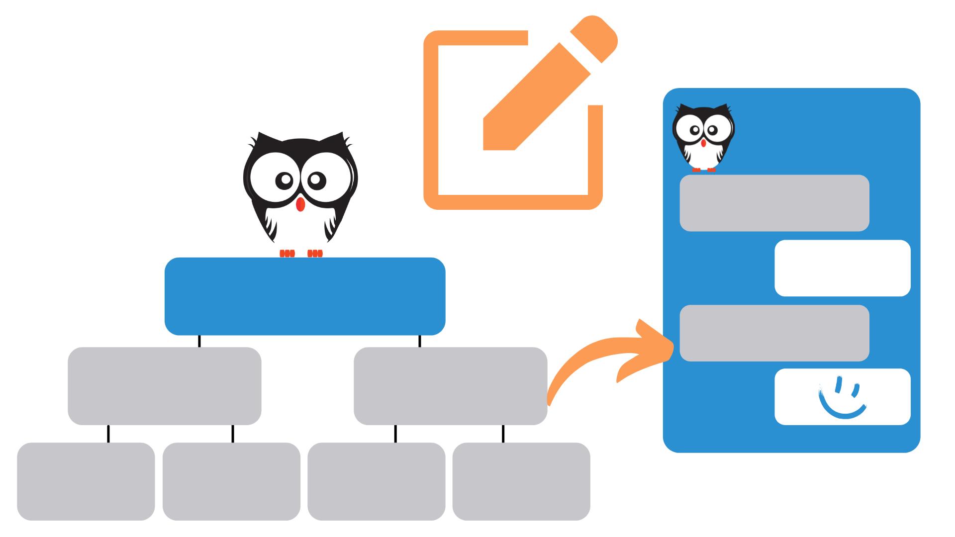 Boxen und Chatfenster symbolisieren den Chatbot Editor Von Kauz