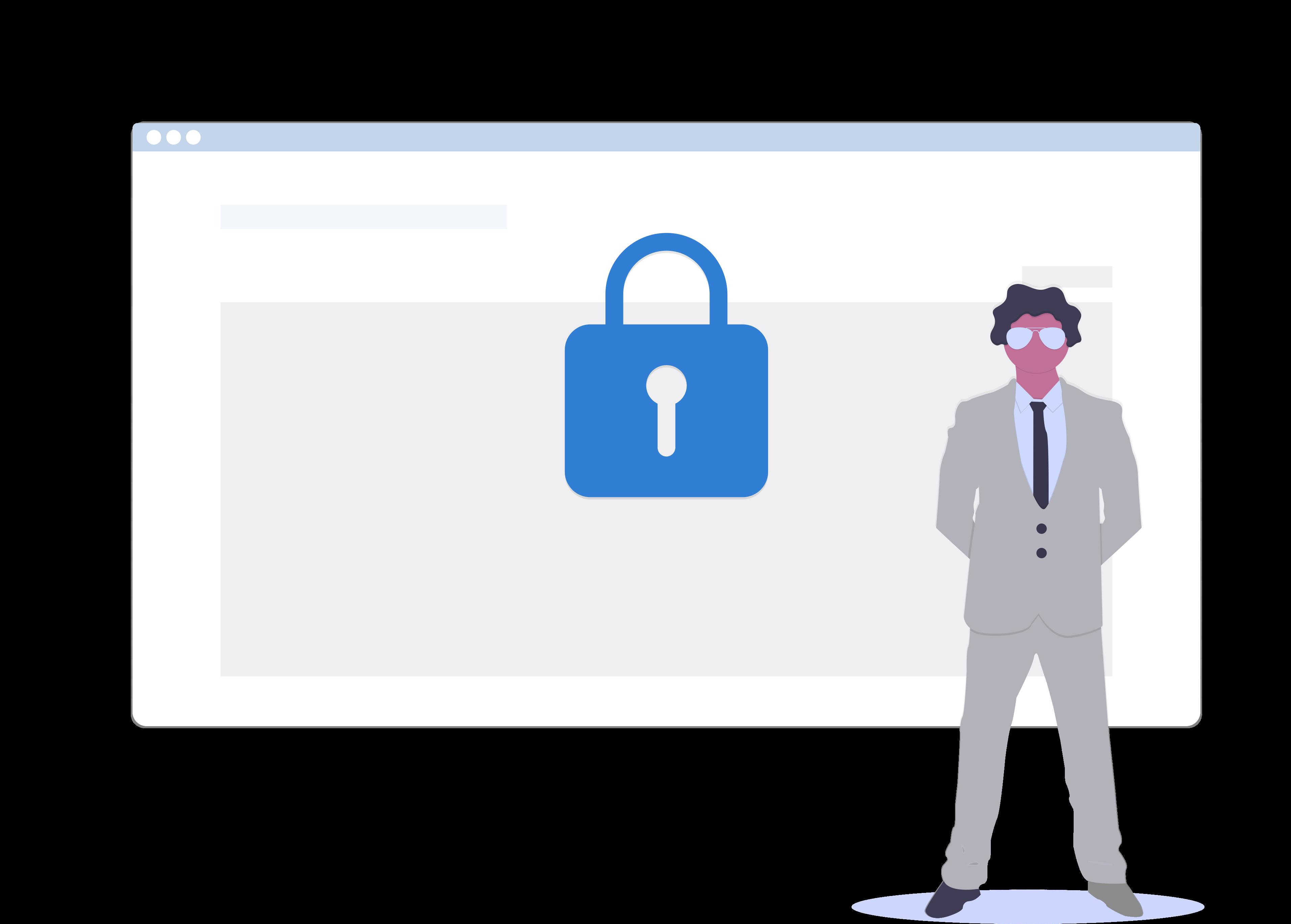 Daten Sicherheit Schloss Mann