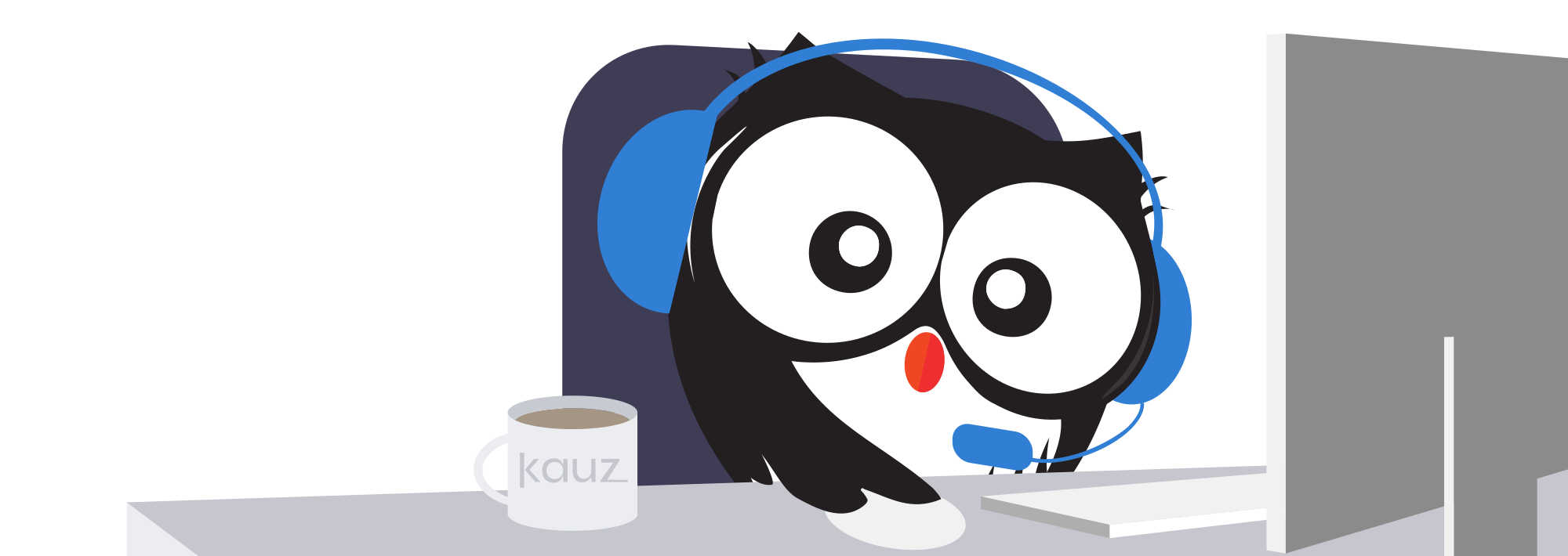 Chatbots im Kundenservice, Kauz mit Headset, Kauz Chatbots