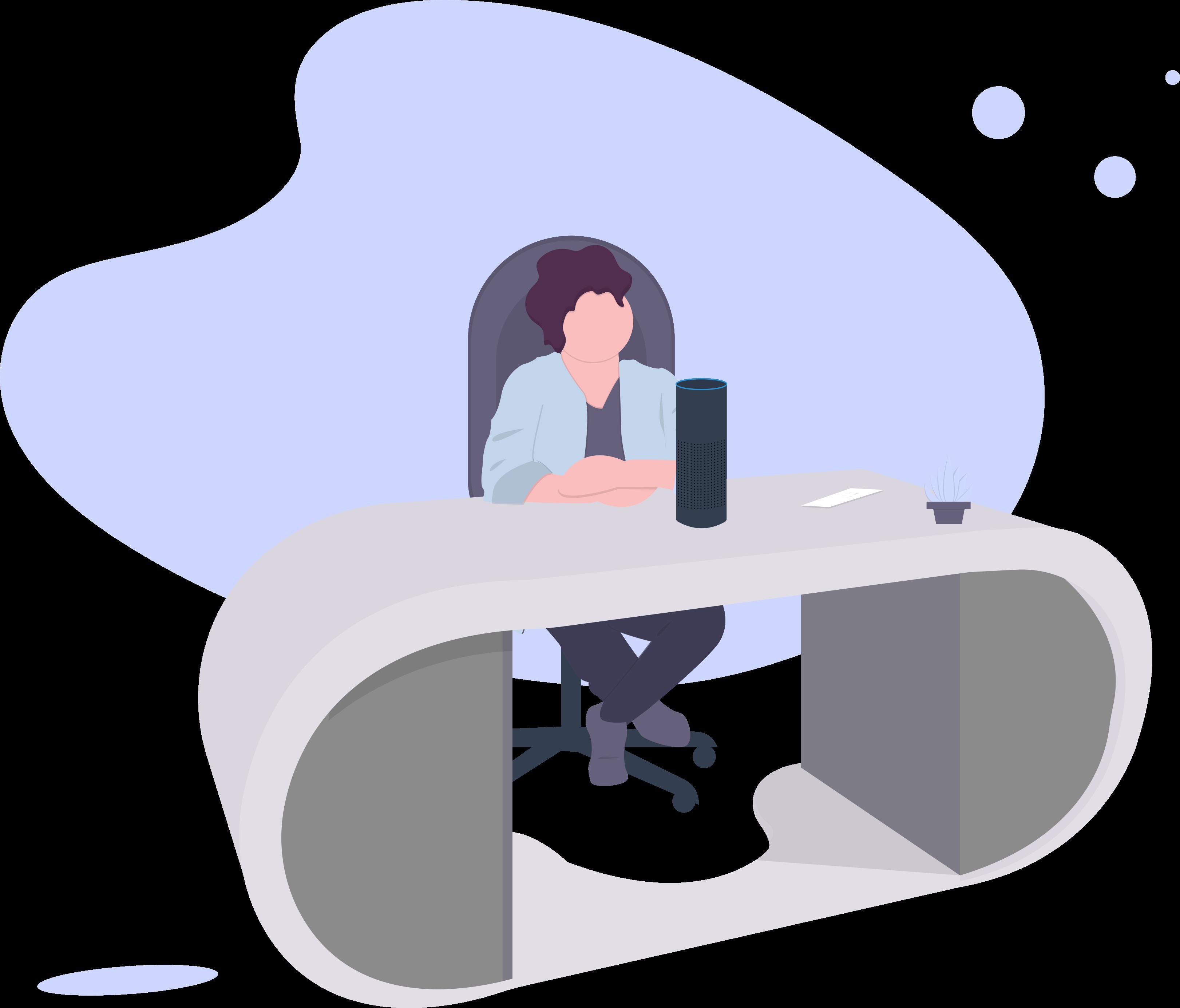 Chatbots für Versicherungen, Frau, Alexa, Schreibtisch