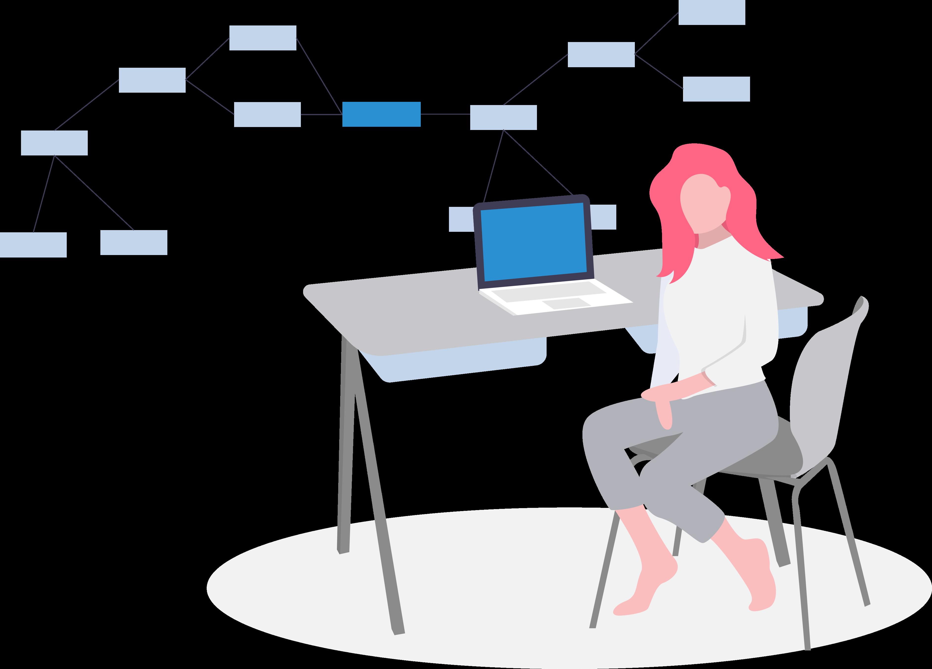 Frau Computer Diagramm Daten