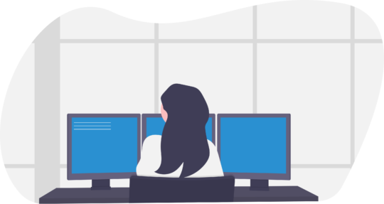 Chat & Search, Frau, Computer, Dualbildschirme
