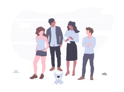HR Gruppe mit Hund Illustration
