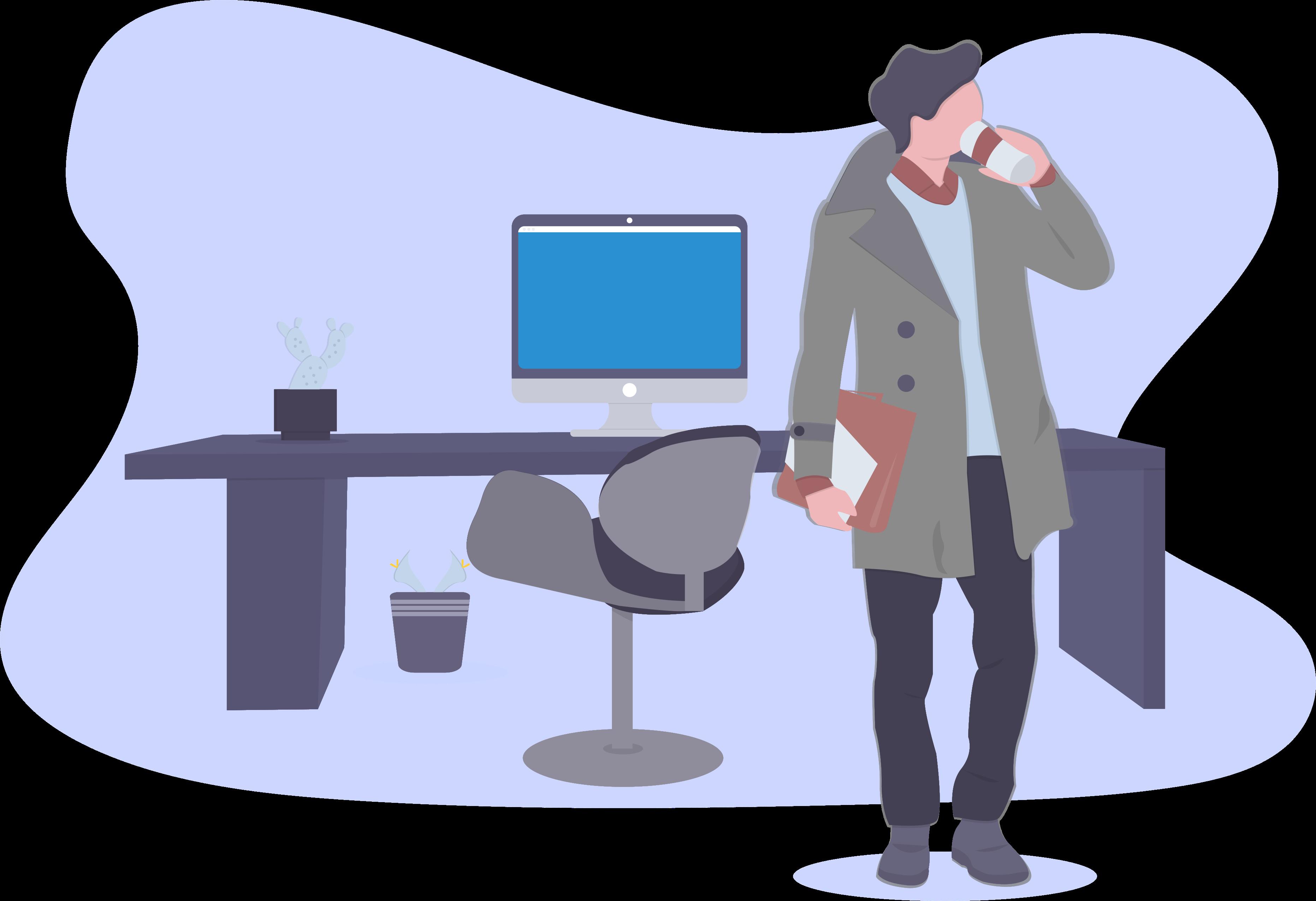 Mann im Mantel Computer Büro Telefongespräch