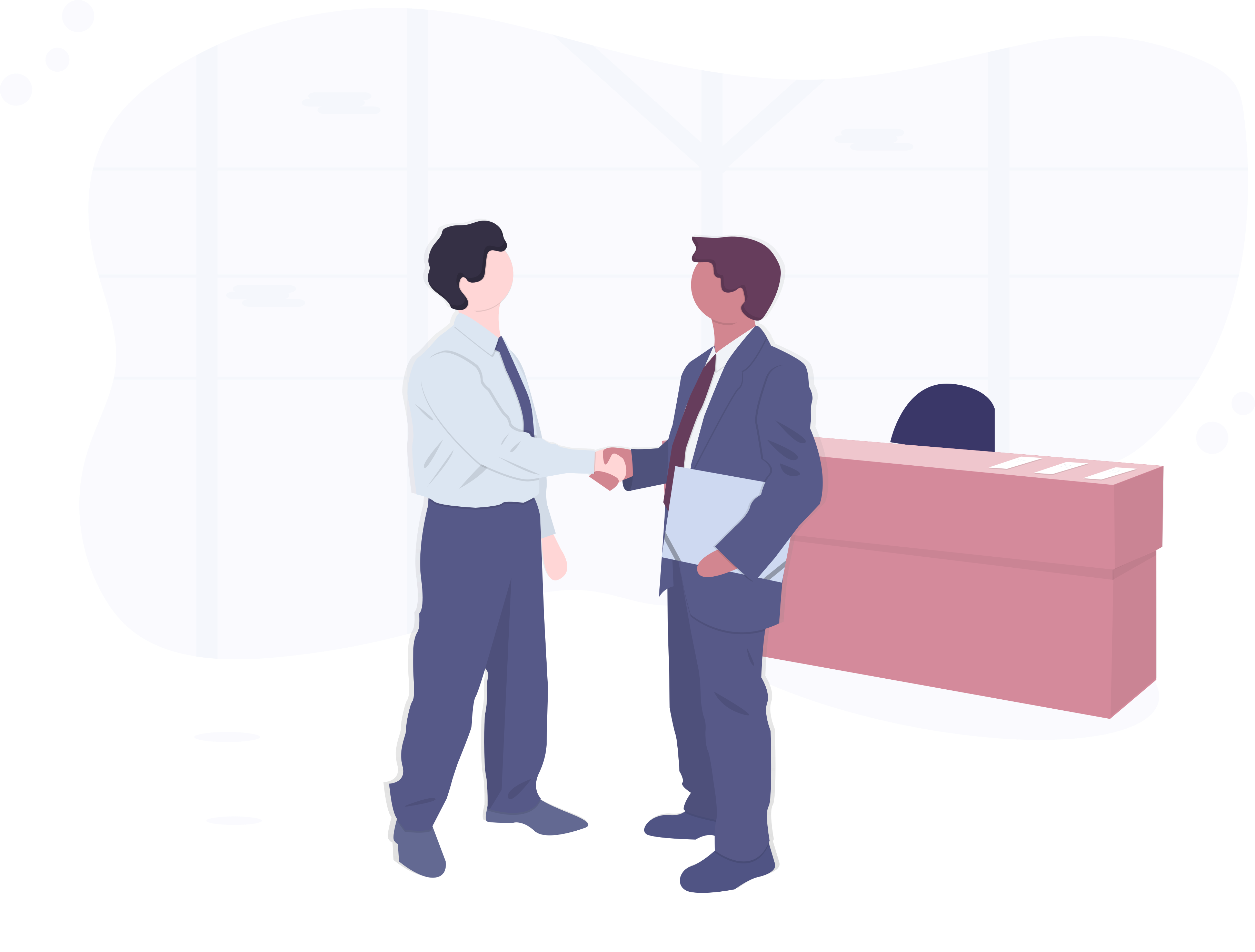 Chatbots für Versicherungen, Partner, Hände schütteln, Büro, Team