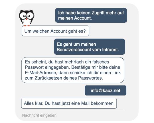 Chatbots für den IT-Support, Kauz Chatbots, Chatfenster, Kauz