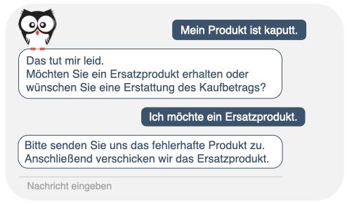 Chatbots im Kundenservice, Chatfenster, Kauz, Produktreklamation, Kauz Chatbots