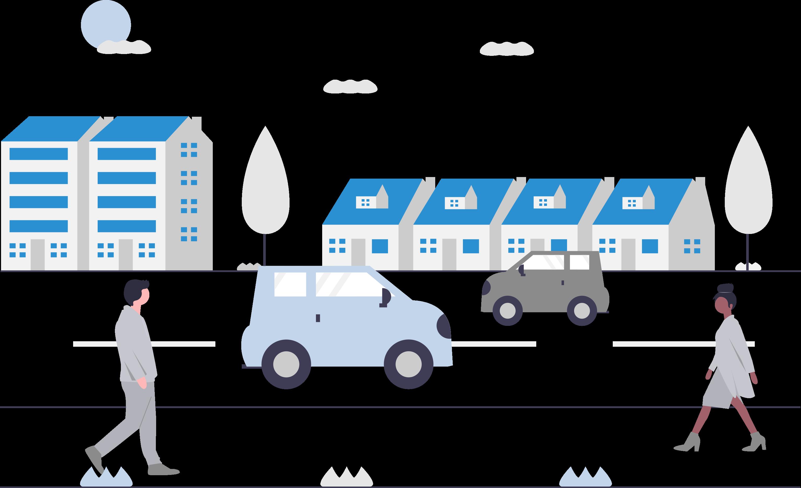 Chatbots für den Handel, Straße, Stadt, Gebäude, Autos, Fußgänger