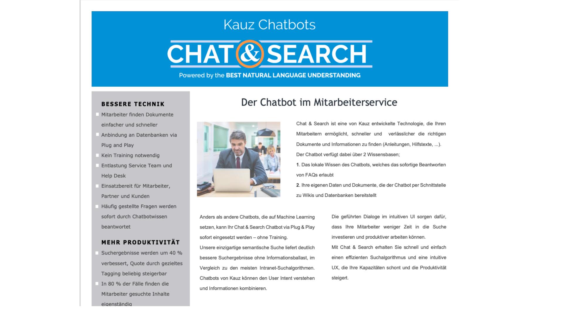 Cover Produktblatt Chat Search Kauz Chatbots